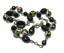 "SILVER BLACK GLASS CLOISONNE FLOWER BEAD NECKLACE 28"" LONG"