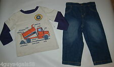 Toddler Boys Outfit FISHER PRICE Dump Truck BEIGE NAVY Jeans Earth Movers 12 Mo