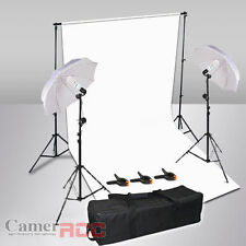 Photo Studio Background Lighting Kit White Backdrop + Umbrella + Light Stand UK