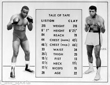 MUHAMMAD ALI CASSIUS CLAY vs SONNY LISTON MATCH UP TALE OF THE TAPE 8x10 PHOTO