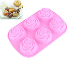 6 Cavity Silicone Flower Rose Cake Candy Mold Jelly Cupcake Mould Baking Pan Hot