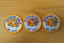 """(3) Vintage Girl Scout Rainbow Girls Of Ohio 3"""" Patches Excellent Unused"""