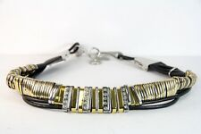 BLACK ABSTACT LEATHER ROPE/GOLD SILVER DIAMANTE ENCRUSTED BELT(29-32inch(SC48)