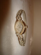 Vintage Original 60's Bulova 14k White Gold Diamond Ladies Watch Stretch Band