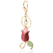 Handbag Buckle Charms Accessories Red Tulip Flower Keyrings Key Chains HK100