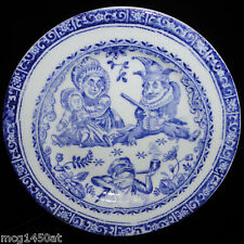 Flow Blue PUNCH & JUDY Childs Plate Staffordshire 1890 Ragbaby Frog Wizard