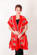 Vintage red white blue bird print tie up capelet cardi style poncho-taille unique