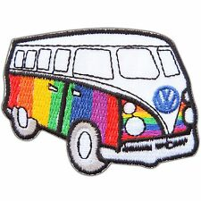 VW Volkswagen Colorful Rainbow Bus Car Camper Van Hippie Iron-On Patches #0723