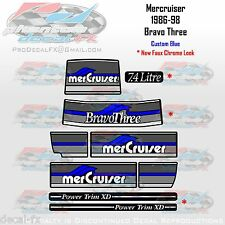 1986-98 MSD-B3 Blue Decal Set Mercruiser Sterndrive Bravo Three Faux Chrome 9 Pc