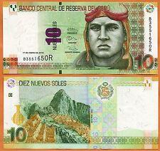Peru  UNC 10 Peruvian Nuevo Soles Banknote Paper Bill P-184