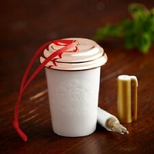 Starbucks White Cup Custom Ornament with Gold Pen 2013