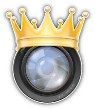 Camera Lens Golden Crown Car Bumper Sticker Decal 4'' x 5''