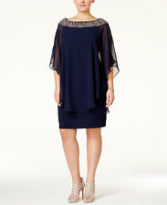 XSCAPE Plus Size Beaded Chiffon Capelet Dress Navy Size 20W