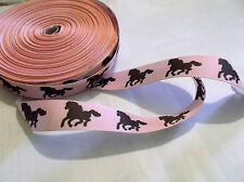 1m of horse pony g/g ribbon hair clips sewing craft PINK with brown pony girl