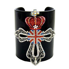 Butler and Wilson Silver Union Jack Medal Crown Wide Plastic Cuff Bracelet NEW