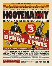 "CHUCK BERRY / JERRY LEE LEWIS ""HOOTENANNY 2010"" IRVINE CONCERT TOUR POSTER"
