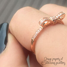 BOW RING Rose Gold PL 925 Solid Sterling Silver Stacking Band Size 8.5 / 58
