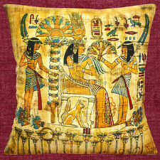 "NEW Egyptian Cleopatra Symbols Birds  Cat Multi Colour 16""  Pillow Cushion Cover"