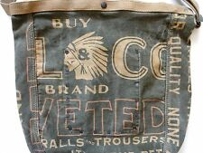 New Ralph Lauren RRL Army Green Indian Head Logo Canvas Messenger Tote Bag