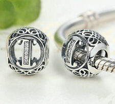 hot letters I European Silver CZ Charm Beads Fit sterling 925 Bracelet Chain #2