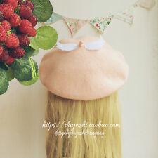Japanese Sweet Lolita Mori Girl Angel Wing Princess Pink Beret Cap Painter Hat