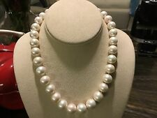 Beautiful Huge 11-14mm Graduated Yangtze Pearl & Sterling Silver Necklace 18""