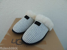 UGG SCUFFETTE II BLACK STRIPE SHEEPSKIN SLIPPERS, US 12/ EUR 43  ~NIB