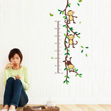 Monkey Forest Home Vinyl Wall Decal Stickers Kids Height Chart Measure Removable