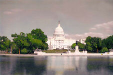"U.S. CAPITOL & REFLECTING POOL WASHINGTON DC 8x12"" HAND COLOR TINTED PHOTOGRAPH"