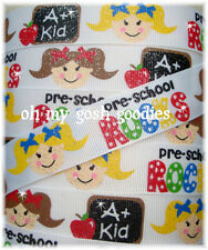 7/8 GLITTER PRE-SCHOOL ROCKS BACK TO SCHOOL GIRL GROSGRAIN RIBBON 4 HAIRBOW BOW
