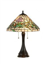 "CH33351FG16-TL2 Floral Tiffany Style Stained Glass 2-Lt Table Lamp W/ 16"" Shade"