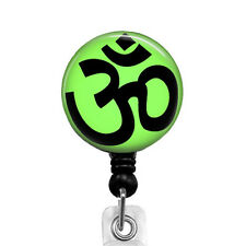 Retractable Badge Reel Green Yoga Symbol OM, ID Badge Reel, Name Badge 700B
