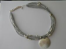 Joan Rivers Silvertone Hammered Disc Seed Bead Torsade Necklace