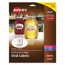 Avery Oval Print-to-the-Edge Labels 2 x 3 1/3 White 80/Pack 22820