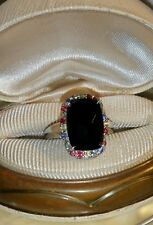 Ross Simons checkerboard emerald cut Black Onyx sapphire sterling silver ring