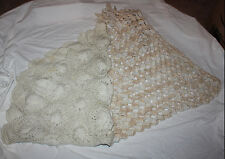 Lot of 2 Lady's Handmade White & Cream Lacey  Knit Wooly Shawls