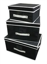 3 Piece Storage Box Boxes Foldable Chest Chests Black Set of Three - folds flat