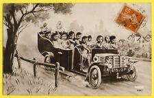 cpa Fantaisie Mille AUTOMOBILE VOITURE AUTO avec BÉBÉS MULTI BABIES CAR