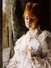 Oil painting Alfred Stevens - portrait of a woman in white sitting by window art