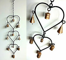 3 Hearts Metal Style Wind Chime - Indoor or Outdoor Decoration