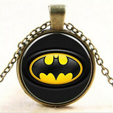 Vintage Superhero Batman Cabochon Tibetan Bronze Glass Chain Pendant Necklace