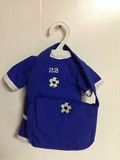 SOCCER OUTFIT WITH  MATCHING BAG FITS AMERICAN GIRL DOLL/BITTY BABY BLUE NEW
