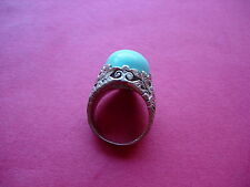 VINTAGE DECORATIVE SILVER PLATE METAL AND OVAL STONE TURQUOISE RING - 6L/M