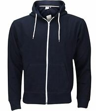 New Plain Mens American Fleece Zip Up Hoody Sweatshirt Hooded Zipper Top S-XXXL