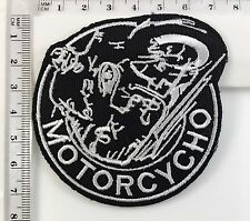 MOTORCYCHO - Iron -Sew On Patch Biker Rocker Ace Cafe Ton Up Boys No-15