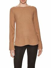 NWT $375 Vince Wool/Cashmere Blend Directional Ribbed Sweater in Almond - Size M