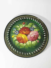 Russian Zhostovo Metal small tray (D=23cm). Hand painted. Green #1