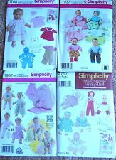 "Lot of (4) Simplicity 15"" Baby Doll Clothes Sewing Patterns for Boys & Girls NEW"