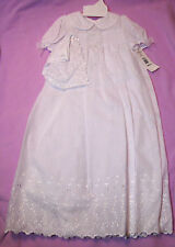 Alexis USA 3 pc White Cotton Poly Christening Dress Slip Bonnet Pearls 9 mos