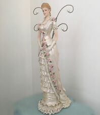 Shabby Chic Jewellery Holder Lady Figurine Stand Victorian Opal White Rose Dress